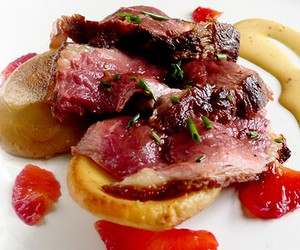 duck with blood orange mayonnaise and artichokes