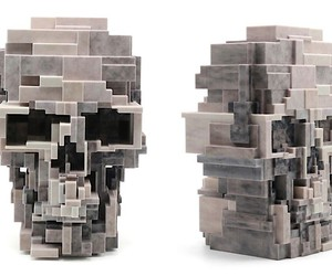 Pixelated skull from the 3D printer