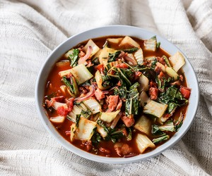 Bok Choy and Bacon in Tomato Sauce