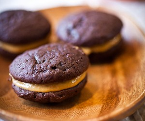 Chocolate Whoopie Pies w/ Pumpkin Custard Filling
