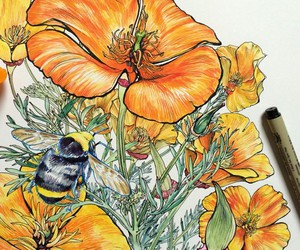 Noel Badges Pugh draws hands, flowers and bees