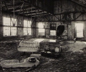 Abandoned Places made with Charcoal on Paper