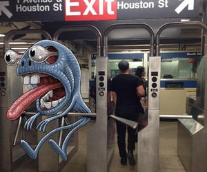 Subway Doodle: Monsters Illustrated into NYC