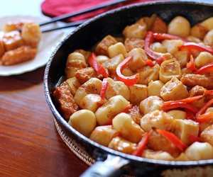 Sweet and Spicy Stir Fried Fish Balls