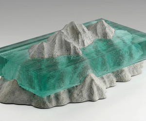 Broken Liquid Glass & Concrete Sculptures