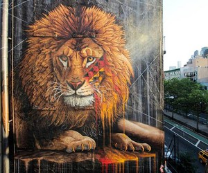 Massive Lion Mural by Artist Sonny in NYC