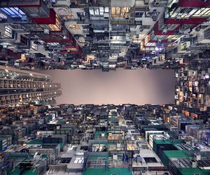 Vertical Perspective of Hong Kong's Skyscrapers