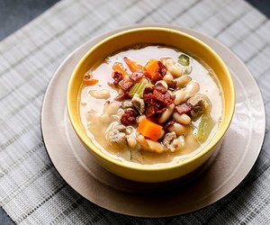 White Bean, Bacon, and Pork Soup with Thyme