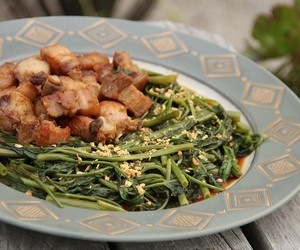 Pork Belly and Water Spinach Adobo
