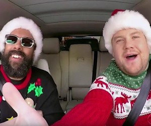 James Corden sings a Christmas song with stars