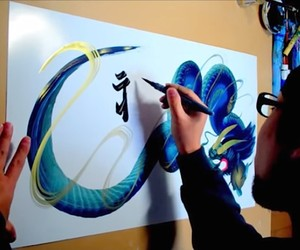 Dragon Paintings with a single Brushstroke