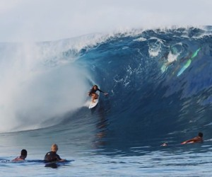 Frankie Harrer surfing Teahupoo in May 2014