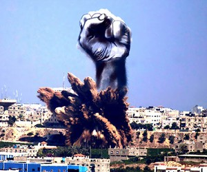 Gaza Artists turn Israeli Bomb Smoke into Skeches