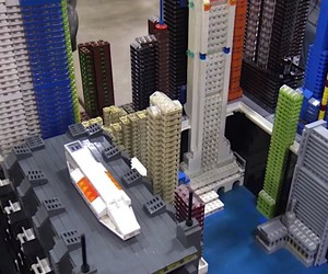 a futuristic mini city made of LEGO