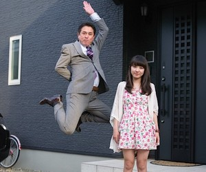 Japanese Dads jumping next to their Daughters