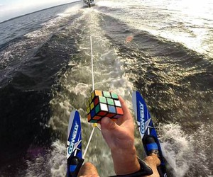 Rubik's Cube Solves While Water Skiing