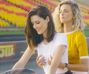 Girls rides bikes