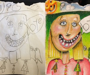 Creative Father colors his Kids' Drawings